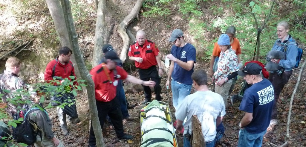 Preparing the injured hiker for transport