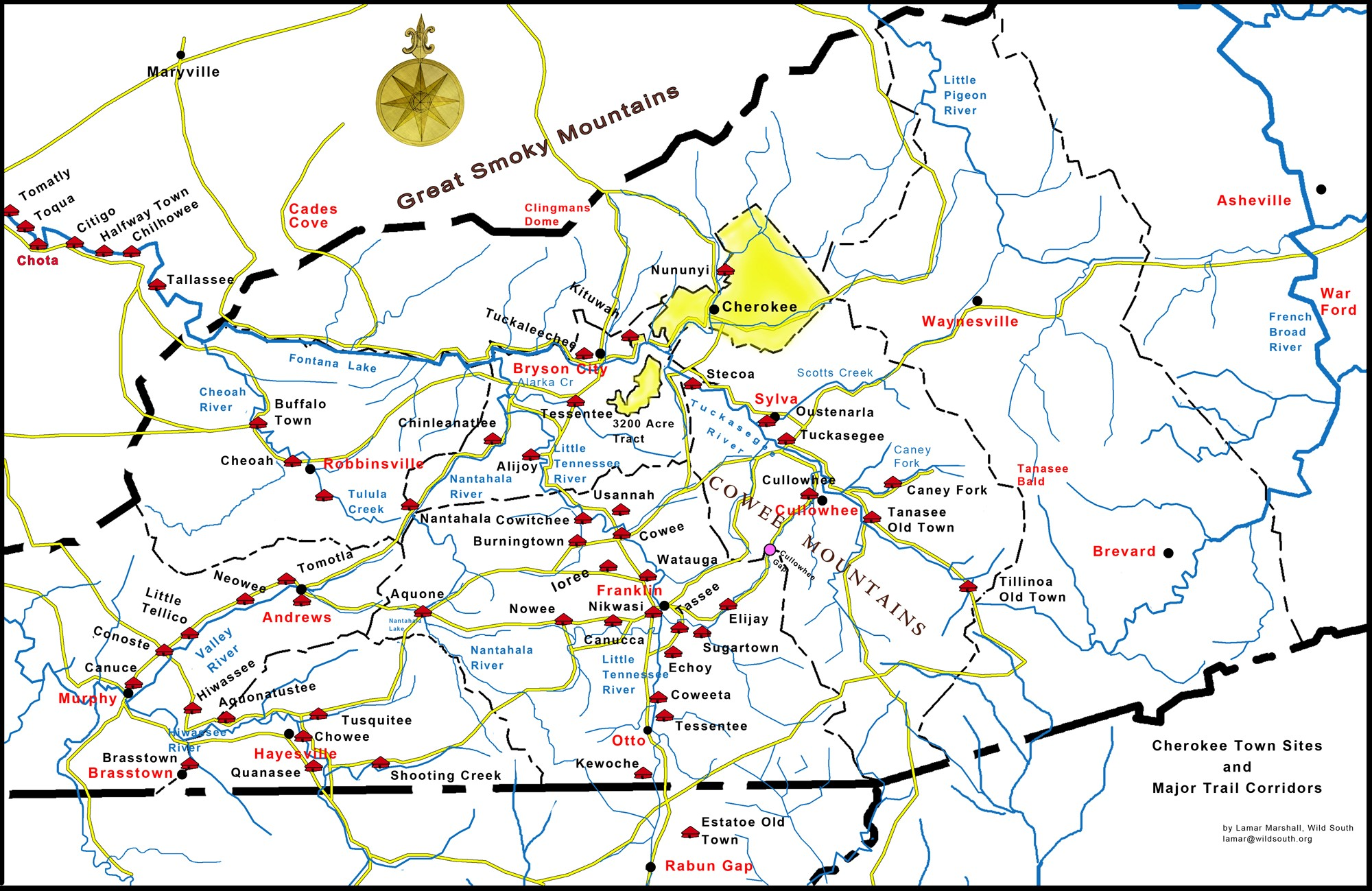 Cherokee Town Sites Map RLM
