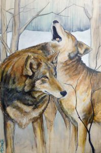 This stunning red wolf painting by Andrea Cassetta headlined the silent auction.
