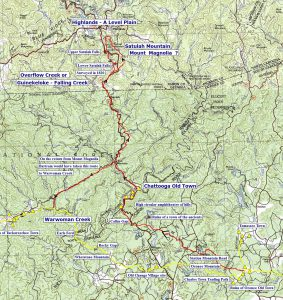 The route from Oconee Moutain to the Highlands.