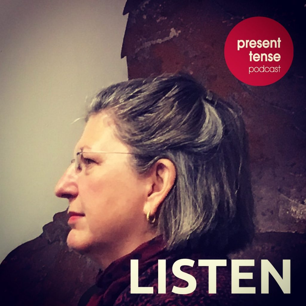 Promotional graphic of producer Anne Markham Bailey Present Tense Podcast